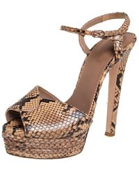 Le Silla Brown/beige Python Ankle Strap Platform Sandals - Natural