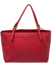 Tory Burch Red Leather Large York Buckle Tote