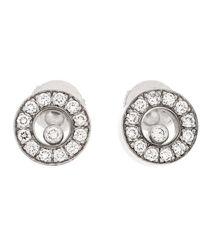 Chopard - Happy Diamond 18k White Gold Stud Earrings - Lyst