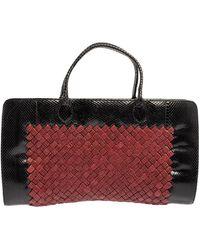 Bottega Veneta Black/red Python And Intrecciato Straw Limited Edition 086/200 Tote