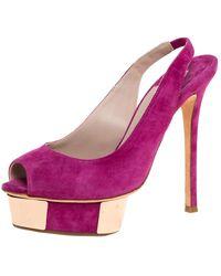 Le Silla Magenta Suede Slingback Peep Toe Platform Sandals - Purple