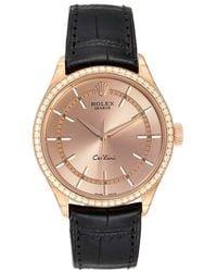 Rolex Pink Diamonds 18k Rose Gold Cellini Automatic 50705 Wristwatch 39 Mm