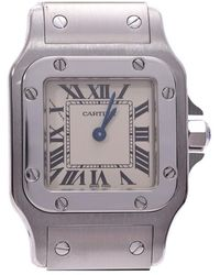 Cartier Ivory Stainless Steel Santos Galbee Women's Wristwatch 23×23mm - White
