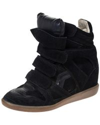 Isabel Marant Black Suede And Leather Bekett Wedge High Top Trainers Size 38