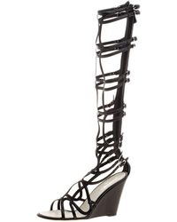 Chanel - Leather Open Toe Gladiator Wedge Sandals - Lyst