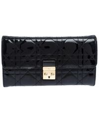 Dior Black Quilted Cannage Patent Leather New Lock Wallet