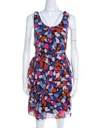 Marc By Marc Jacobs Abstract Floral Printed Silk Tiered Sleeveless Dress M - Multicolour