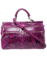 Roberto Cavalli Purple Python Doctor Diva Shoulder Bag