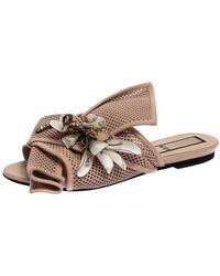 N°21 Powder Pink Perforated Leather Knot Embellished Mules