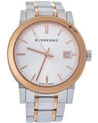 Burberry Silver Two Tone Stainless Steel The City Bu9105 Wristwatch - Metallic