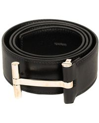 Tom Ford Black Leather T Buckle Belt