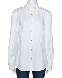 Roberto Cavalli - Cream Stretch Cotton Contrast Floral Trim Shirt L - Lyst