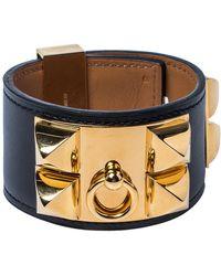 Hermès Hermès Black Leather Collier De Chien Cuff Bracelet