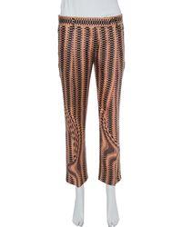 Prada Pink Weave Print Silk Cropped Pants