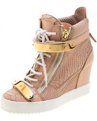 Giuseppe Zanotti Pink Python Embossed Leather Lorenz Wedge Trainers Size 38.5