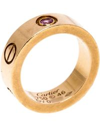 Cartier Love Pink Sapphire 18k Rose Gold Band Ring Size 46 - Metallic