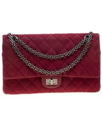 Chanel Burgundy Quilted Caviar Nubuck Reissue 2.55 Classic 226 Flap Bag - Multicolour
