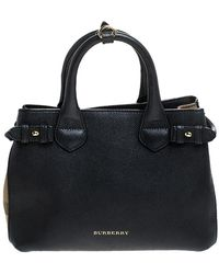 Burberry Black Leather And House Check Fabric Small Banner Tote