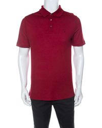 Louis Vuitton Red Cotton Honeycomb Knit Short Sleeve Polo T-shirt