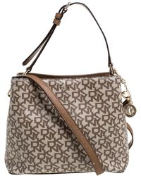 DKNY Beige/brown Signature Coated Canvas And Leather Bryant Bucket Bag - Natural