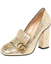 Gucci Metallic Gold Crinkled Leather GG Marmont Fringe Pumps