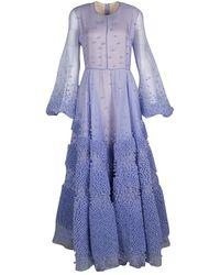 ROKSANDA Limited Edition Lilac Silk Organza Bobble Embellished Viola Gown - Purple