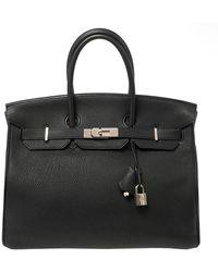 Hermès Black Togo Leather Palladium Hardware Birkin 35 Bag