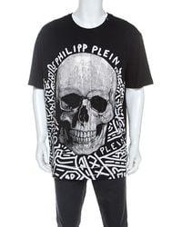 Philipp Plein Black Skull Print Cotton Crystal Embellished T-shirt