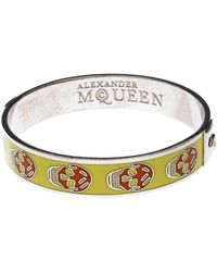 Alexander McQueen - Yellow Resin Skull Enamel Silver Tone Bangle Bracelet - Lyst
