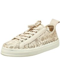 Chloé Light Beige Lace And Leather Lauren Sneakers - Natural