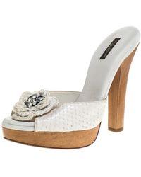 Dolce & Gabbana White Python Embellished Wooden Platform Slides