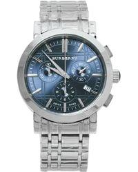 Burberry Blue Stainless Steel Heritage Chronograph Bu1360 Wristwatch