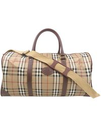Burberry Brown Haymarket Check Leather Travel Bag - Natural