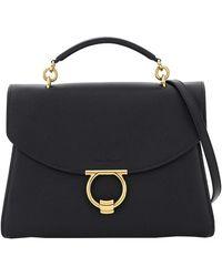 Ferragamo Black Leather Margot Large Bag