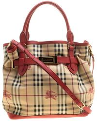 Burberry -  red Haymarket Check Pvc And Leather Medium Golderton Tote - Lyst 9b28c75ba2cd2