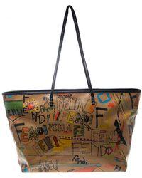 Fendi - /multicolor Graffiti Print Coated Canvas Roll Tote - Lyst