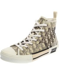 Dior White Oblique Mesh B23 High Top Trainers