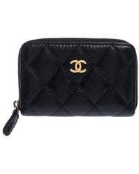 Chanel Black Quilted Leather Zipped Coin Purse