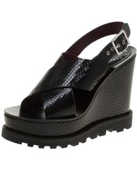 Marc By Marc Jacobs Black Embossed Snakeskin Leather Irving Cross Strap Wedge Sandals Size 35.5