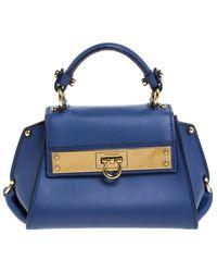 Ferragamo Blue Leather Mini Sofia Top Handle Bag