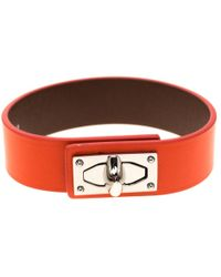 Givenchy Shark Tooth Orange Leather Silver Tone Bracelet