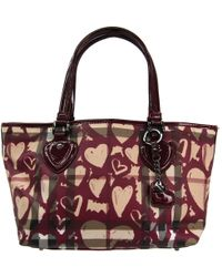 Burberry - Bordeaux Nova Check Pvc And Leather Heart Shopping Tote - Lyst