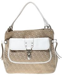 DKNY Beige/white Signature Canvas And Leather Front Pocket Hobo - Natural