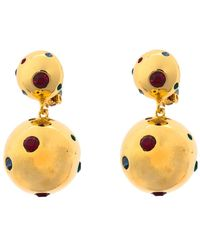 Rebecca de Ravenel Multicoloured I See Stars Crystal Gold Tone Clip On Drop Earrings - Metallic