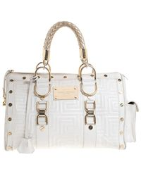 Versace Versace White Quilted Leather Snap Out Of It Satchel