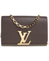 Louis Vuitton Granit Leather Chain Louise Gm Bag - Grey