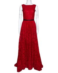CH by Carolina Herrera Red Lace Bow Detail Sleeveless Gown