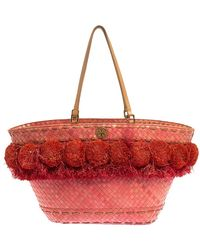 Tory Burch Pink Woven Raffia Beachy Norah Bucket Bag