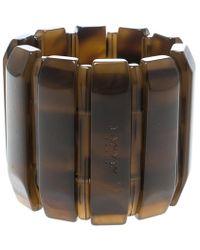 Lanvin - Brown Plastic Polyester Elastic Wide Cuff Bracelet - Lyst