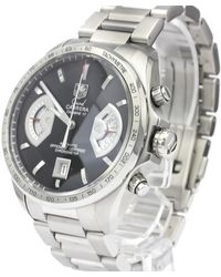 Tag Heuer Black Stainless Steel Grand Carrera Calibre 17 Automatic Watch Cav511a Wristwatch 43 Mm